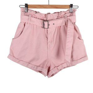 PACSUN Pink Denim Belted Mom Short High Rise